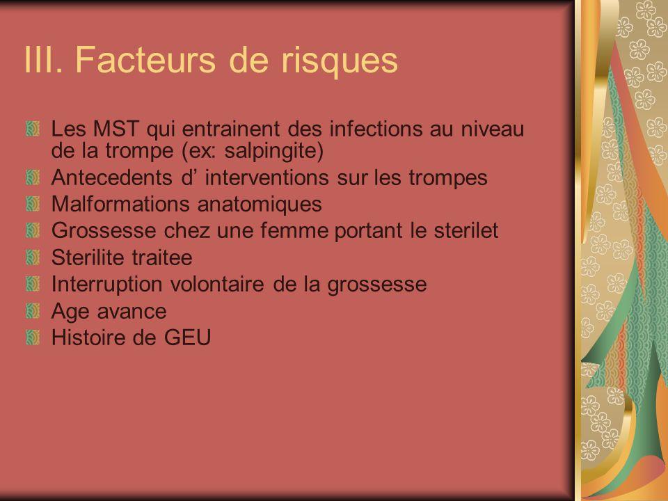 III. Facteurs de risques