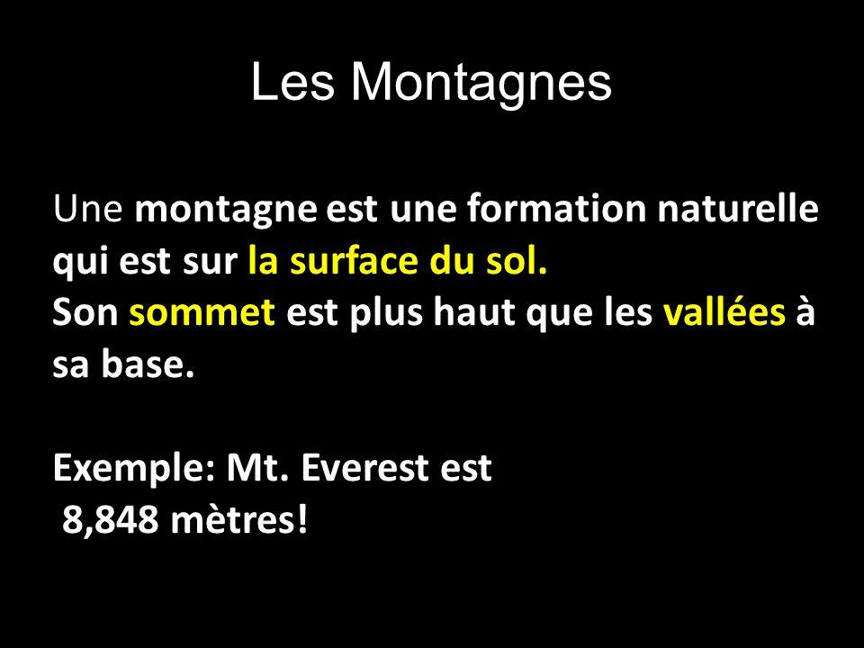 Les Montagnes Une montagne est une formation naturelle qui est sur la surface du sol. Son sommet est plus haut que les vallées à sa base.
