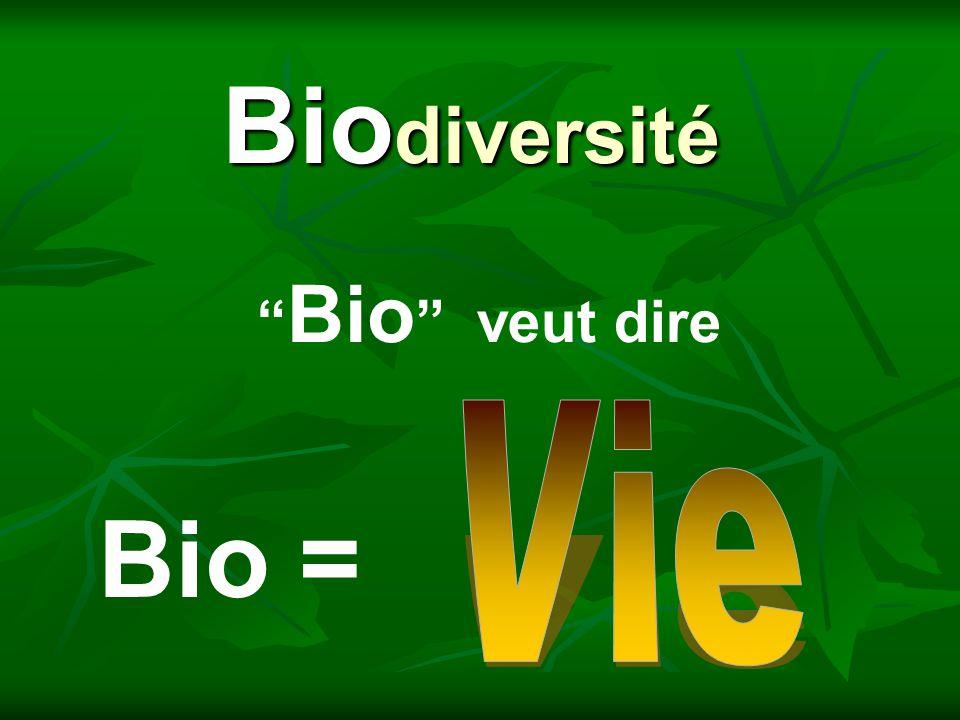 Biodiversité Bio veut dire Vie Bio =