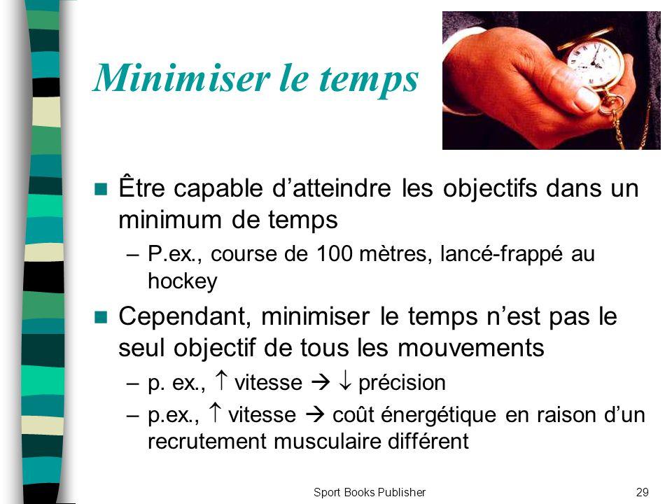 Minimiser le temps Être capable d'atteindre les objectifs dans un minimum de temps. P.ex., course de 100 mètres, lancé-frappé au hockey.