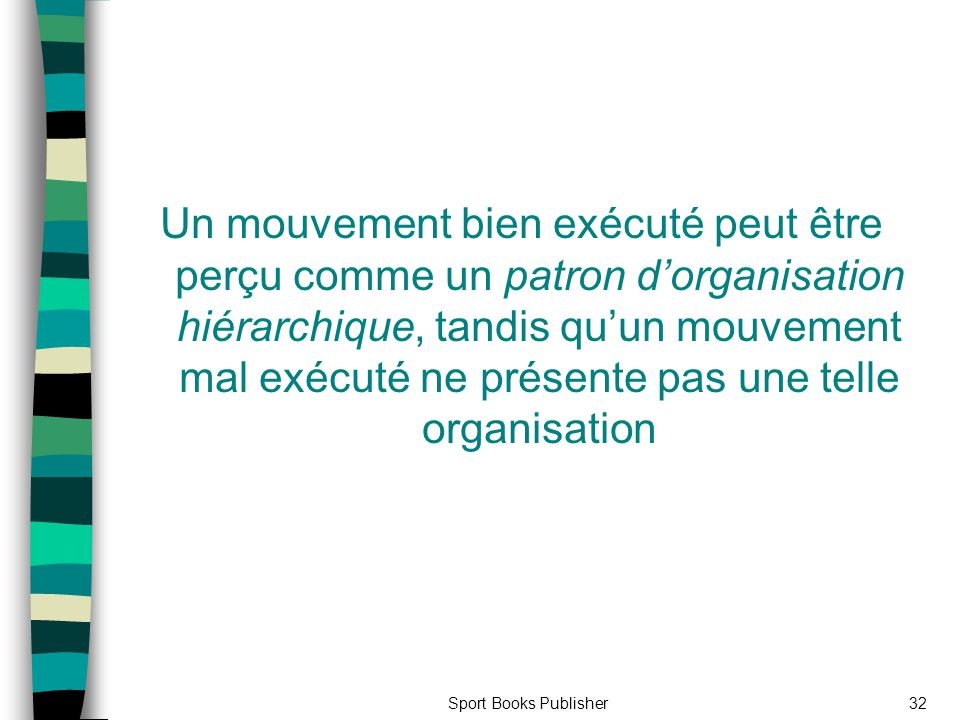 Un mouvement bien exécuté peut être perçu comme un patron d'organisation hiérarchique, tandis qu'un mouvement mal exécuté ne présente pas une telle organisation
