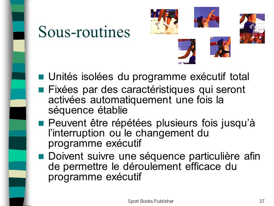Sous-routines Unités isolées du programme exécutif total