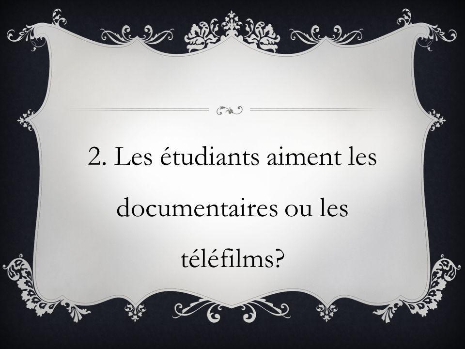 2. Les étudiants aiment les documentaires ou les téléfilms
