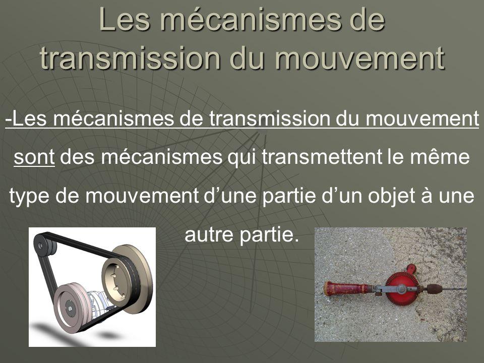 Les mécanismes de transmission du mouvement