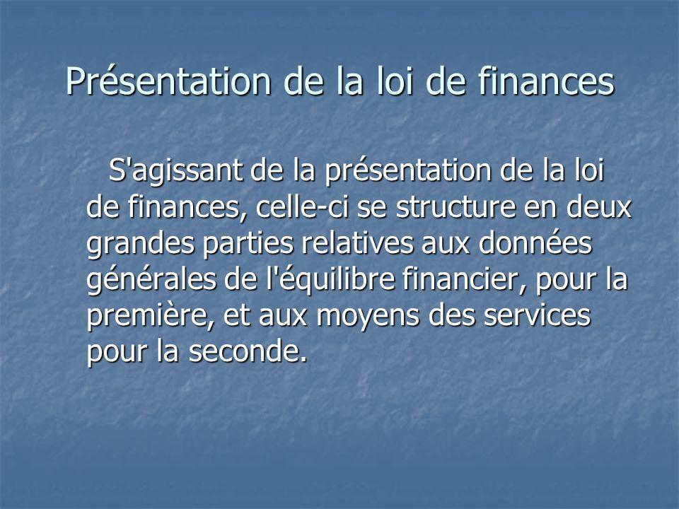 Présentation de la loi de finances