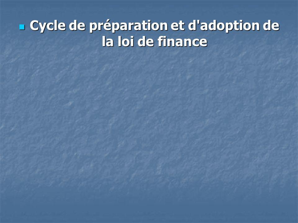 Cycle de préparation et d adoption de la loi de finance