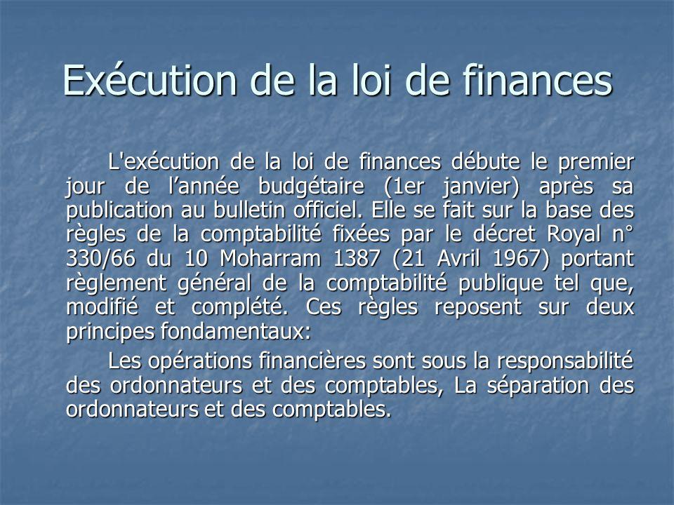 Exécution de la loi de finances