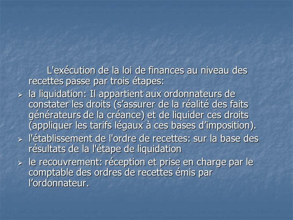 L exécution de la loi de finances au niveau des recettes passe par trois étapes: