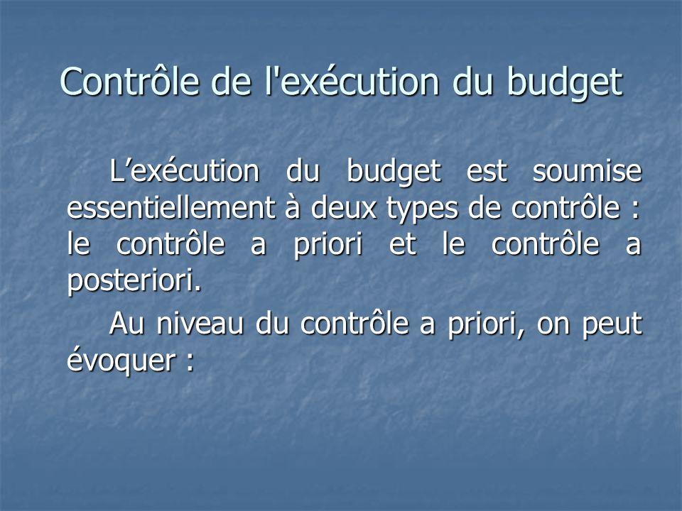 Contrôle de l exécution du budget