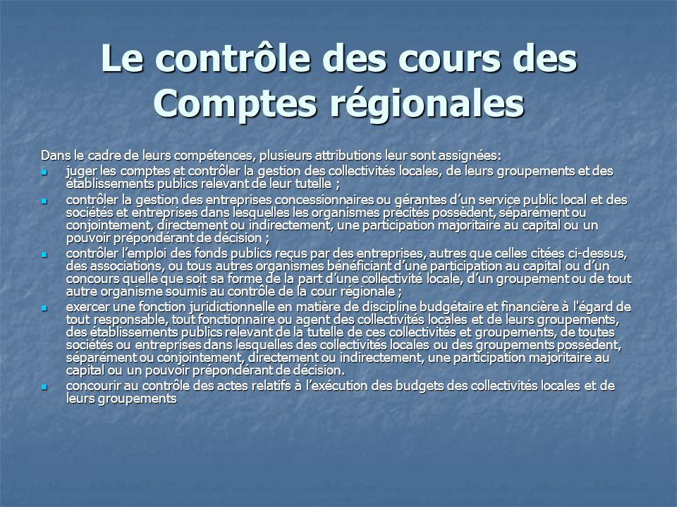 Le contrôle des cours des Comptes régionales