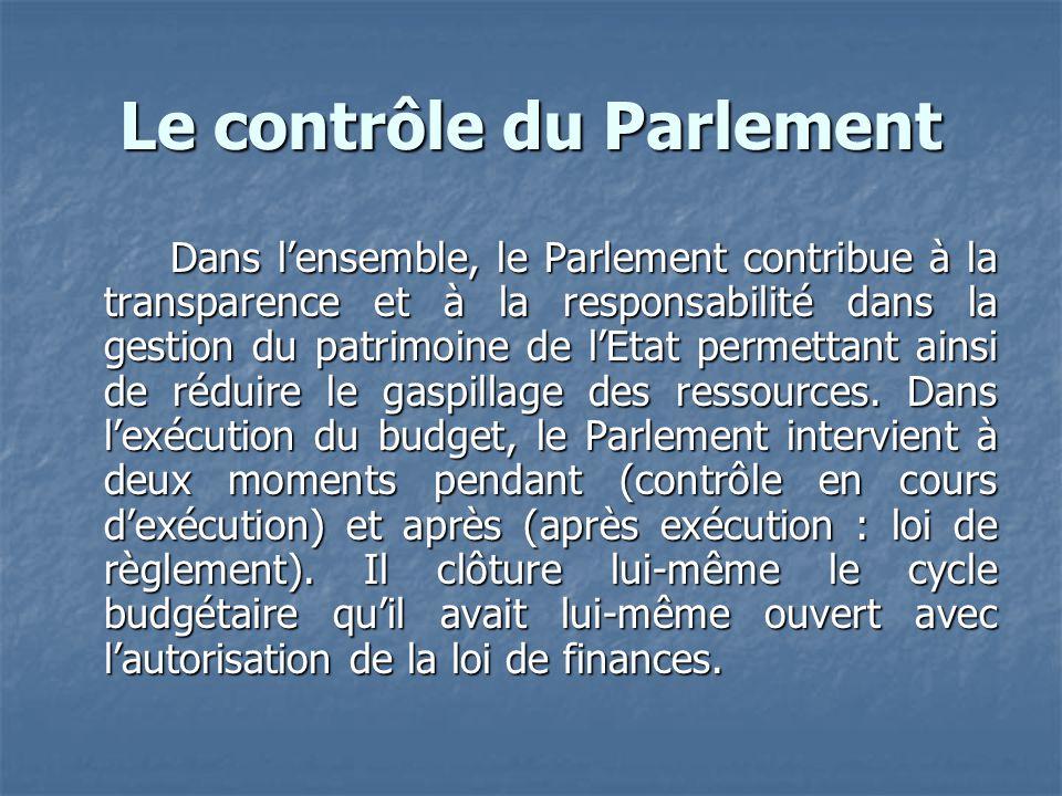 Le contrôle du Parlement