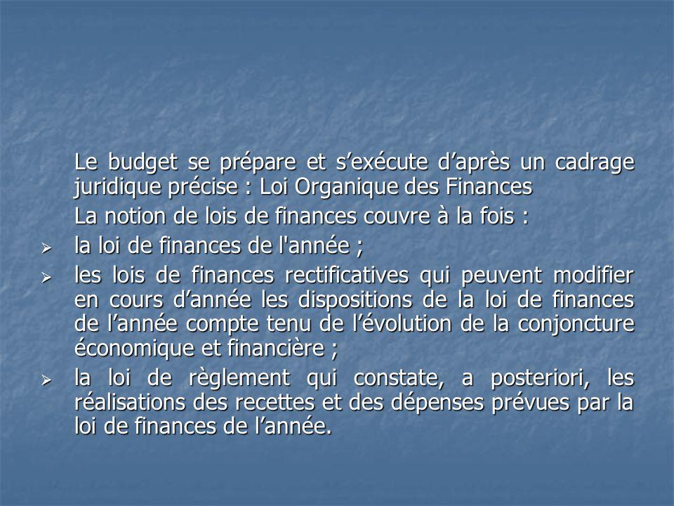 Le budget se prépare et s'exécute d'après un cadrage juridique précise : Loi Organique des Finances