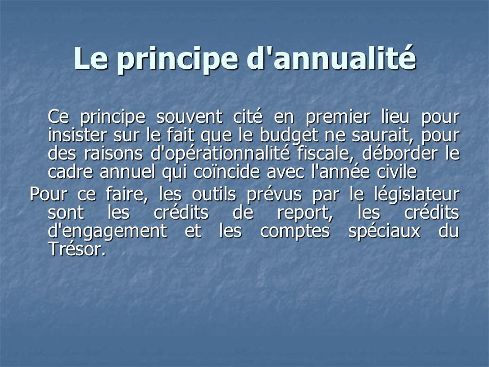 Le principe d annualité