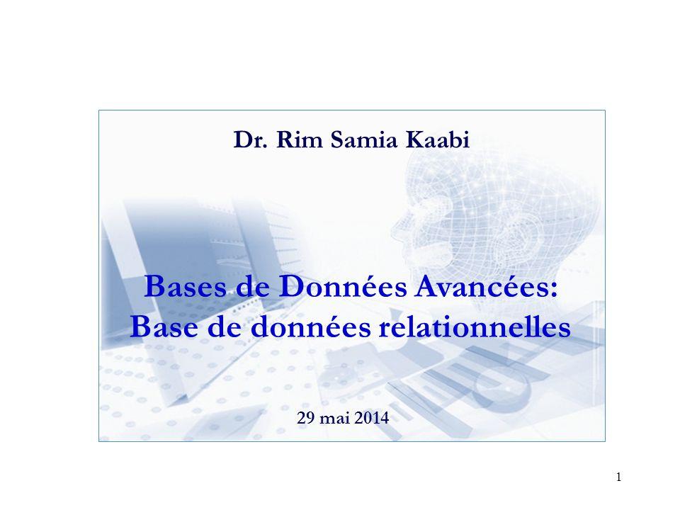 Bases de Données Avancées: Base de données relationnelles