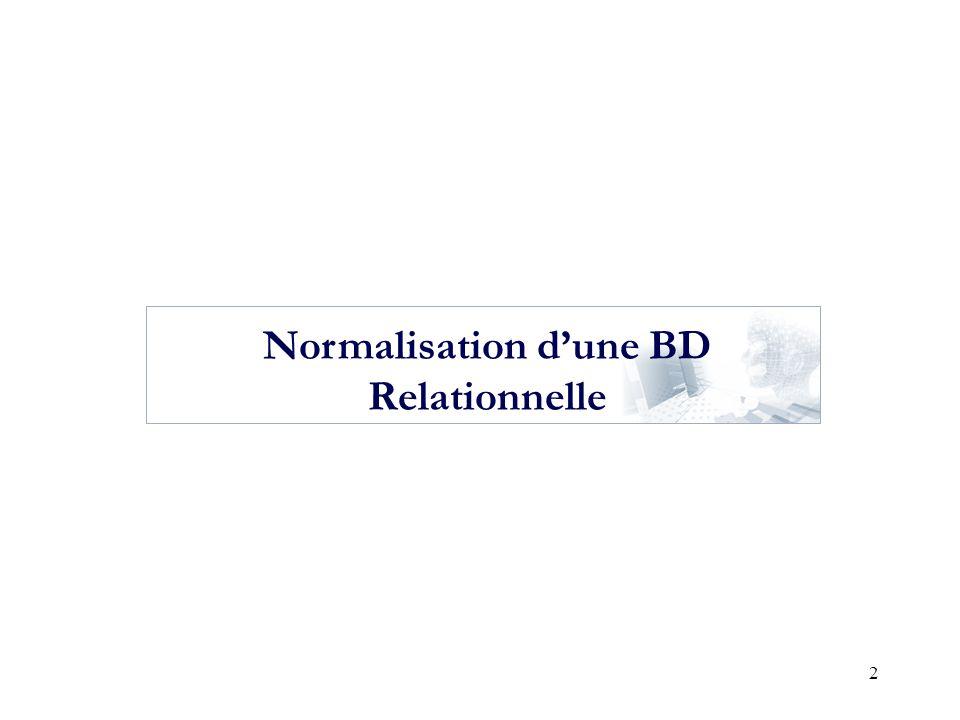 Normalisation d'une BD Relationnelle