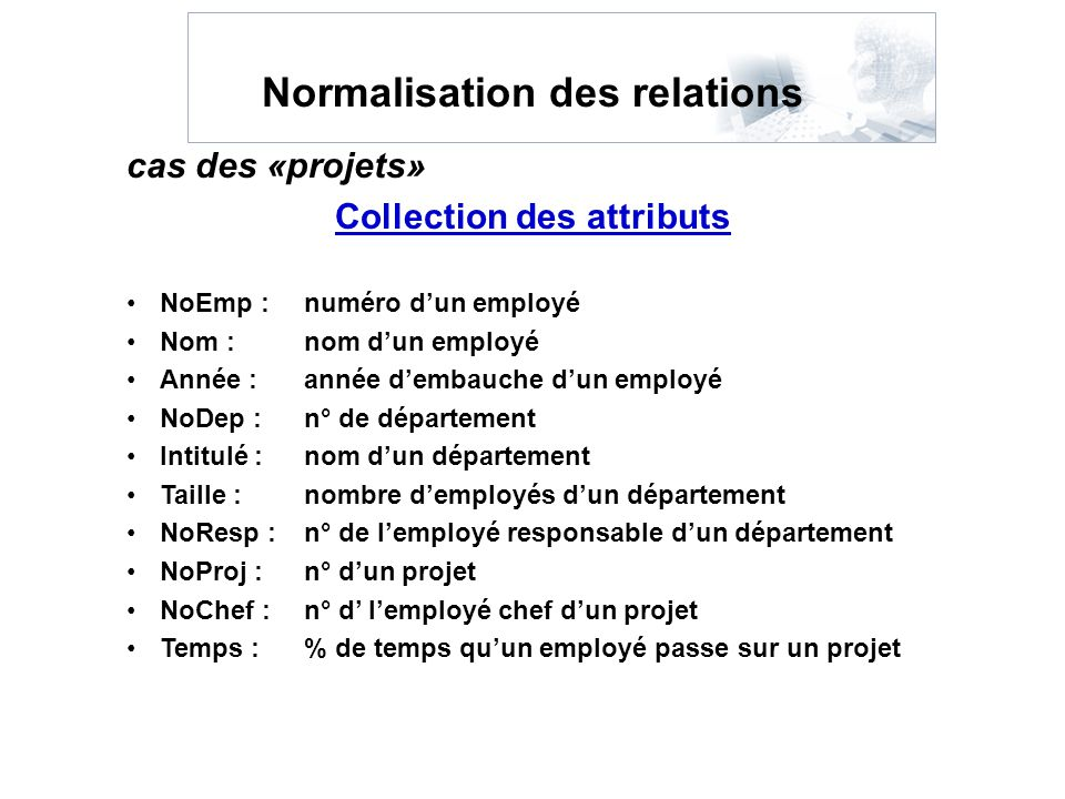 Normalisation des relations Collection des attributs