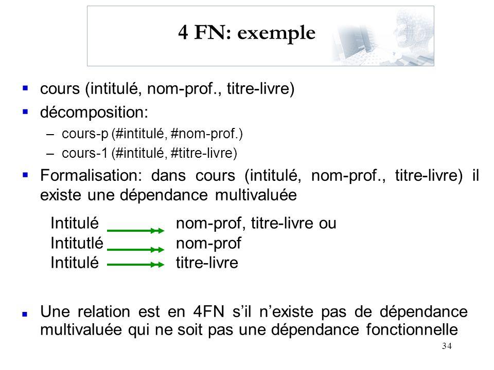 4 FN: exemple cours (intitulé, nom-prof., titre-livre) décomposition: