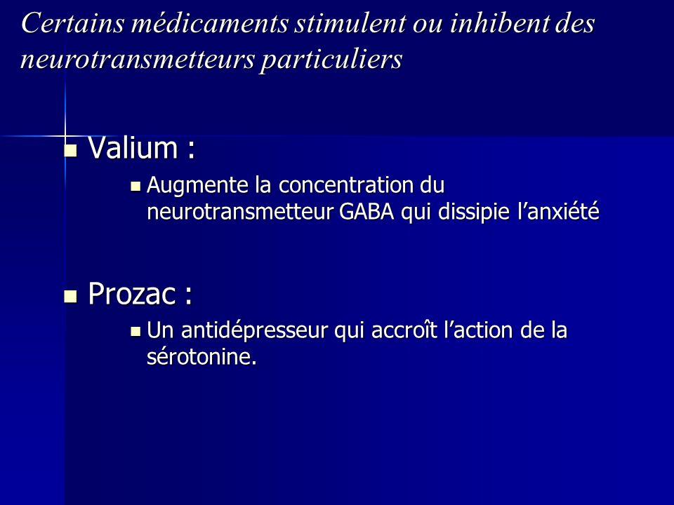 Certains médicaments stimulent ou inhibent des neurotransmetteurs particuliers