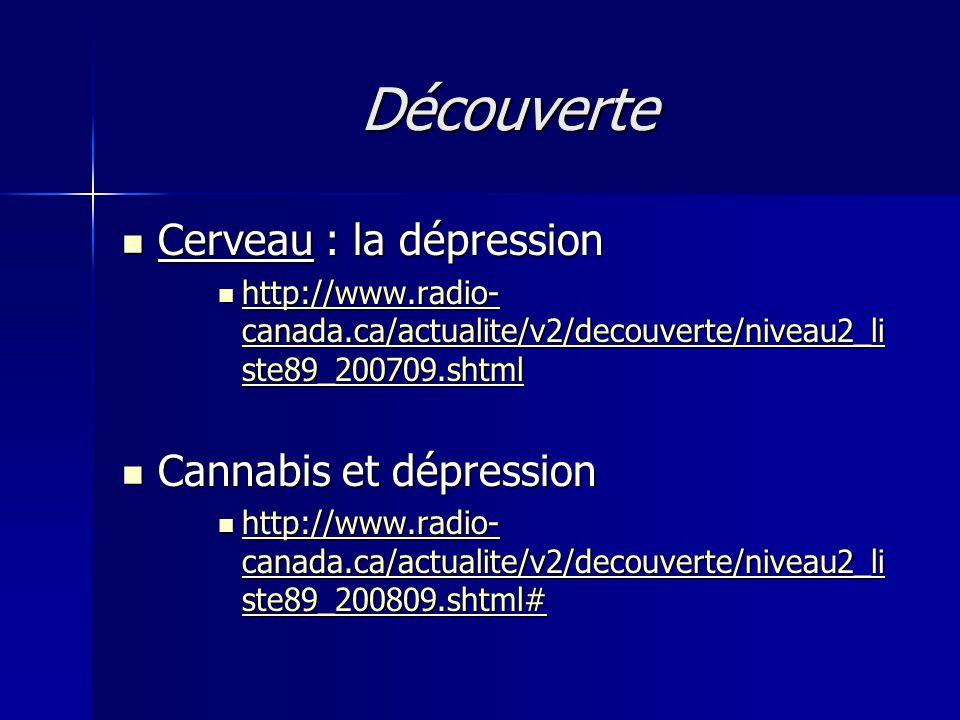 Découverte Cerveau : la dépression Cannabis et dépression