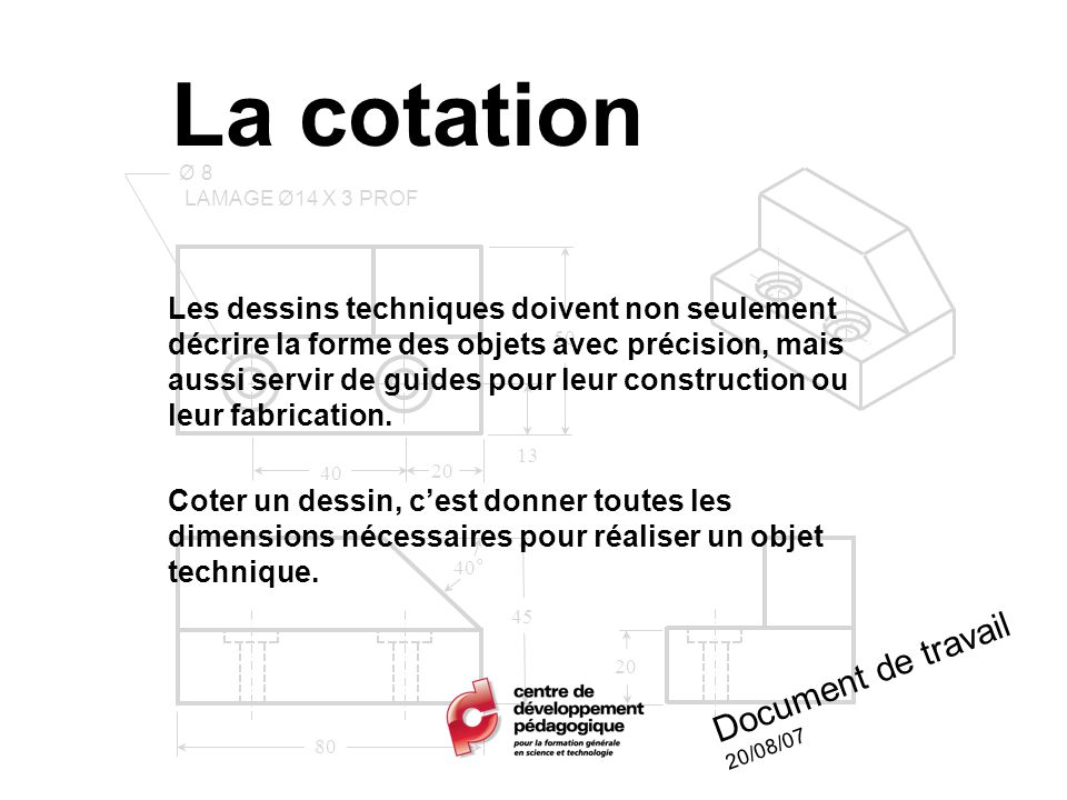 La cotation Document de travail