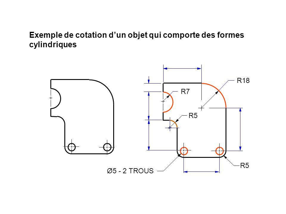 Exemple de cotation d'un objet qui comporte des formes cylindriques