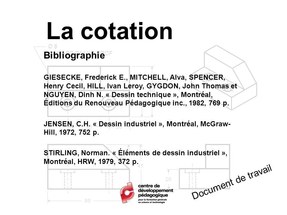 La cotation Bibliographie Document de travail