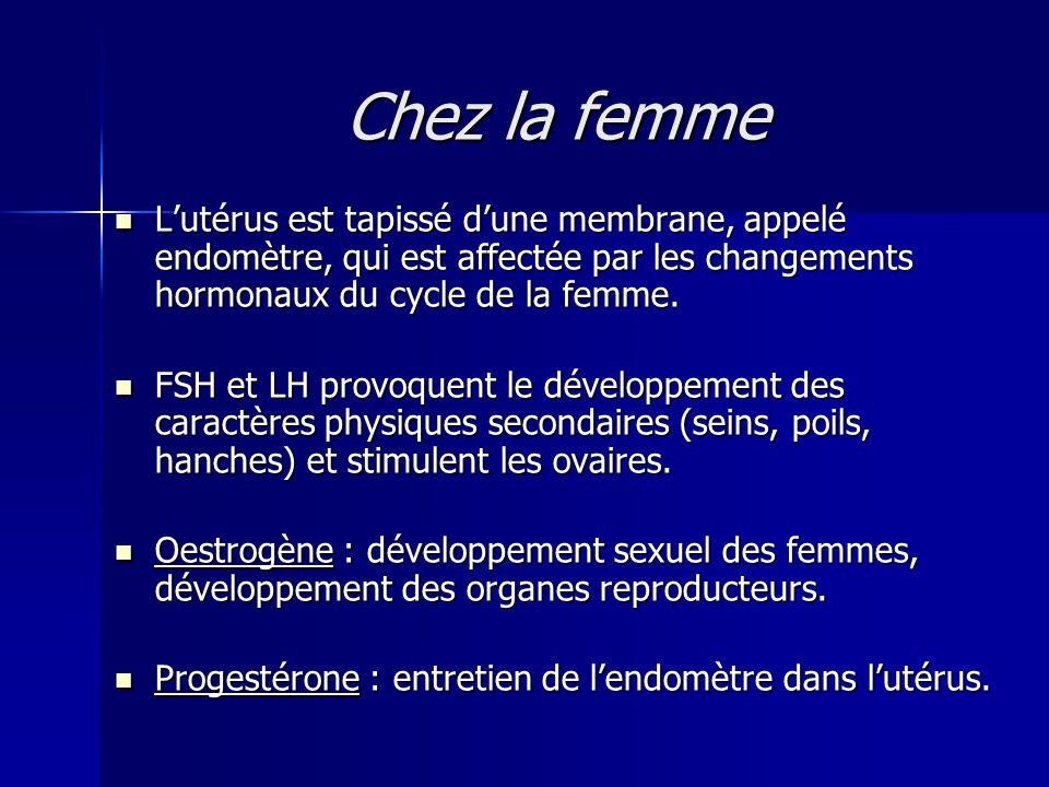 Chez la femme L'utérus est tapissé d'une membrane, appelé endomètre, qui est affectée par les changements hormonaux du cycle de la femme.