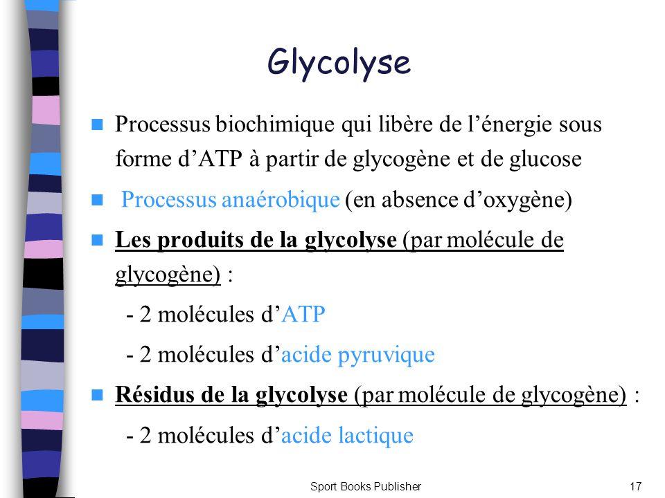 Glycolyse Processus biochimique qui libère de l'énergie sous forme d'ATP à partir de glycogène et de glucose.