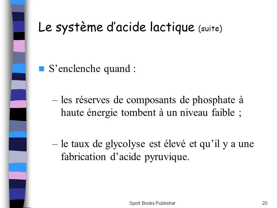 Le système d'acide lactique (suite)
