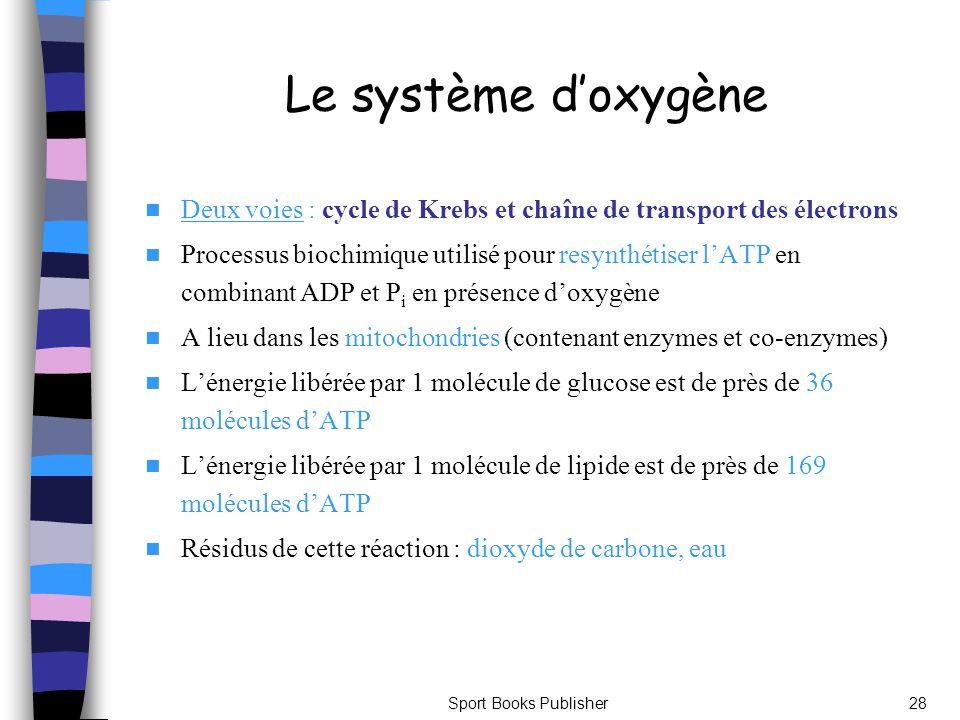 Le système d'oxygène Deux voies : cycle de Krebs et chaîne de transport des électrons.