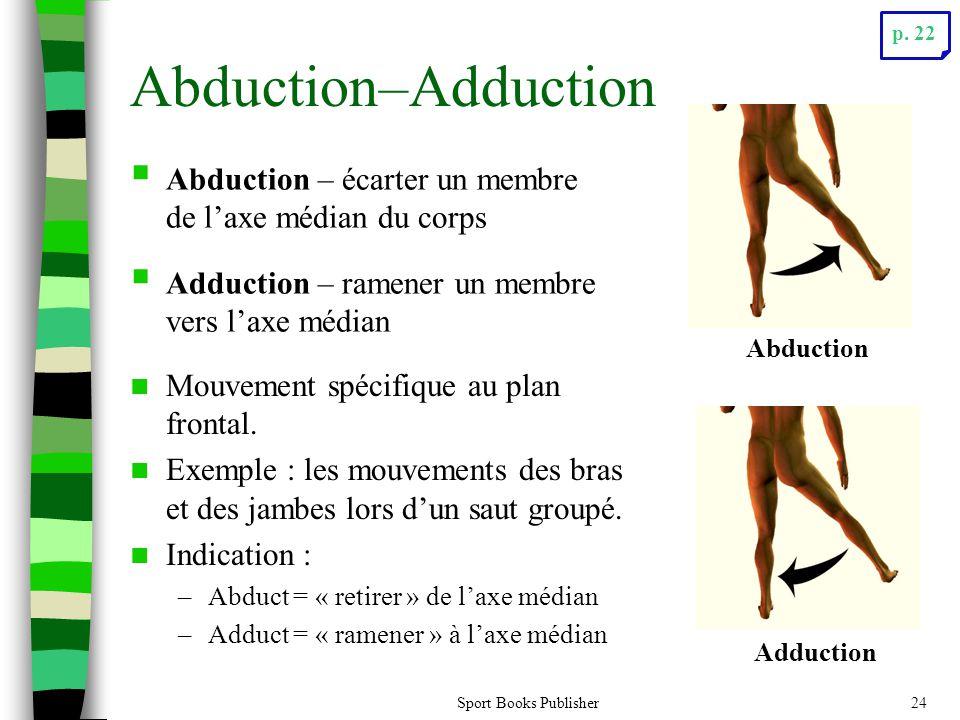 p. 22 Abduction–Adduction. Abduction – écarter un membre de l'axe médian du corps. Adduction – ramener un membre vers l'axe médian.