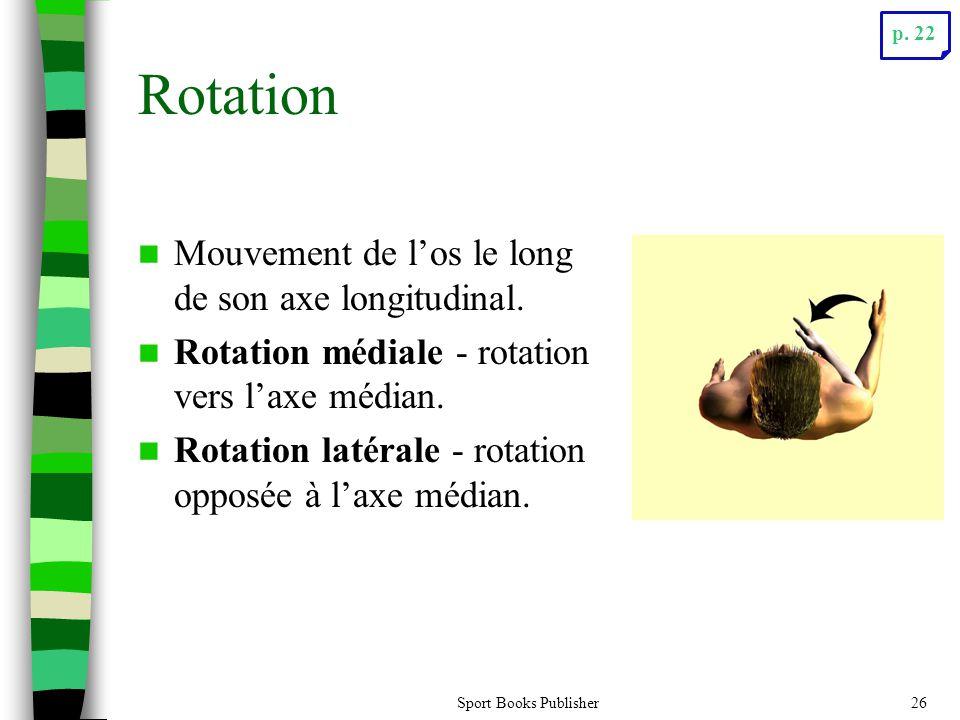 Rotation Mouvement de l'os le long de son axe longitudinal.