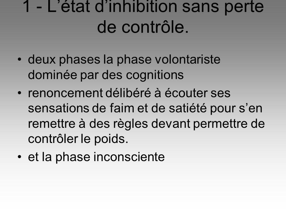1 - L'état d'inhibition sans perte de contrôle.