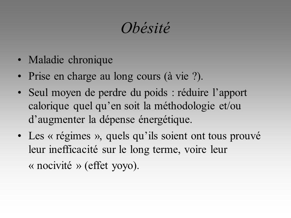 Obésité Maladie chronique Prise en charge au long cours (à vie ).