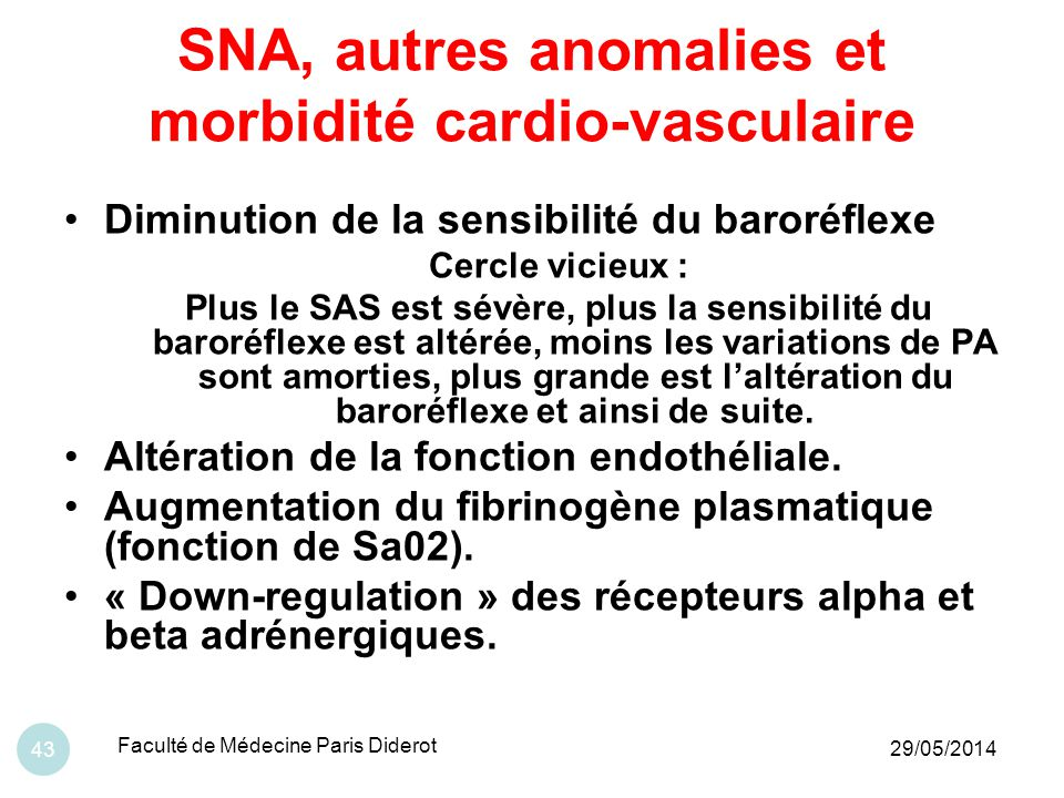 SNA, autres anomalies et morbidité cardio-vasculaire