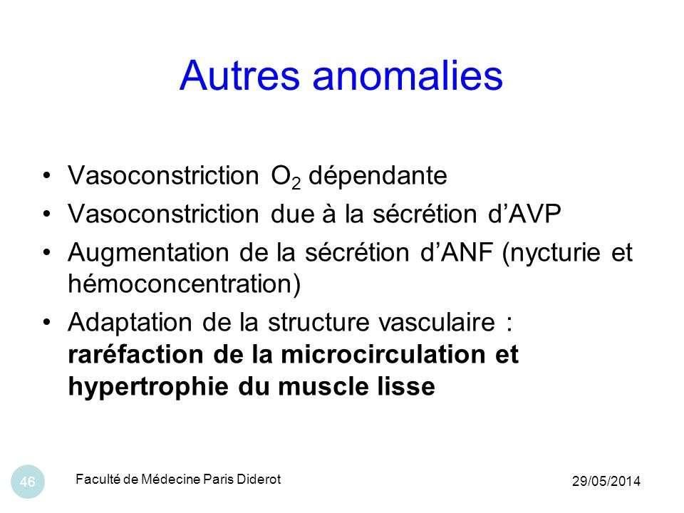 Autres anomalies Vasoconstriction O2 dépendante