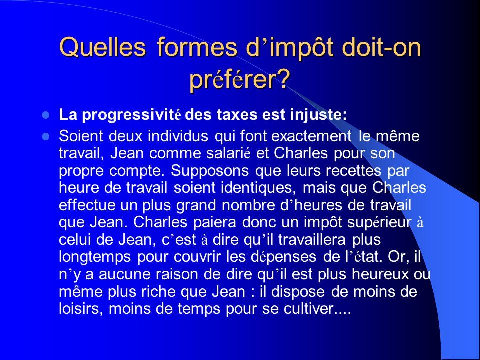 Quelles formes d'impôt doit-on préférer