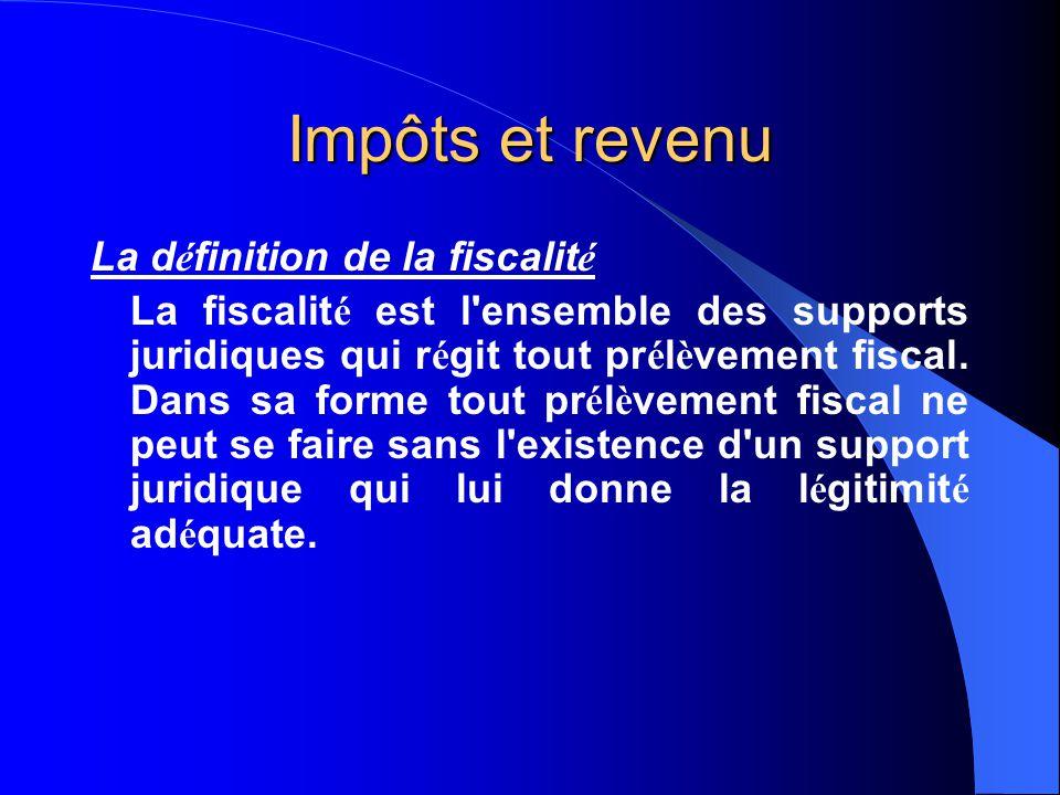 Impôts et revenu La définition de la fiscalité