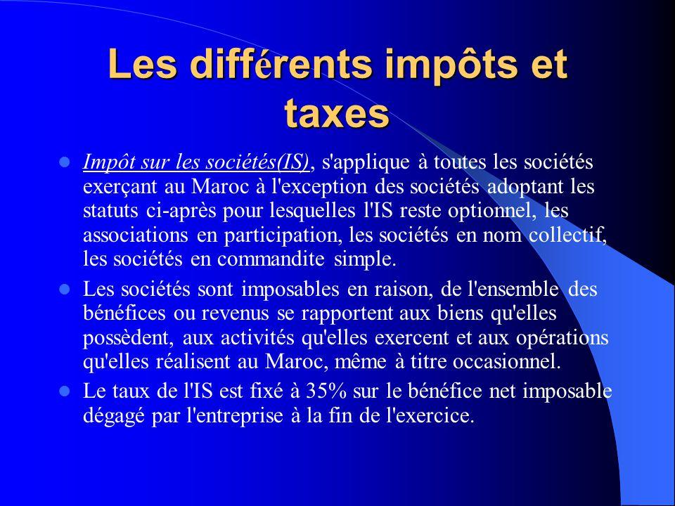 Les différents impôts et taxes