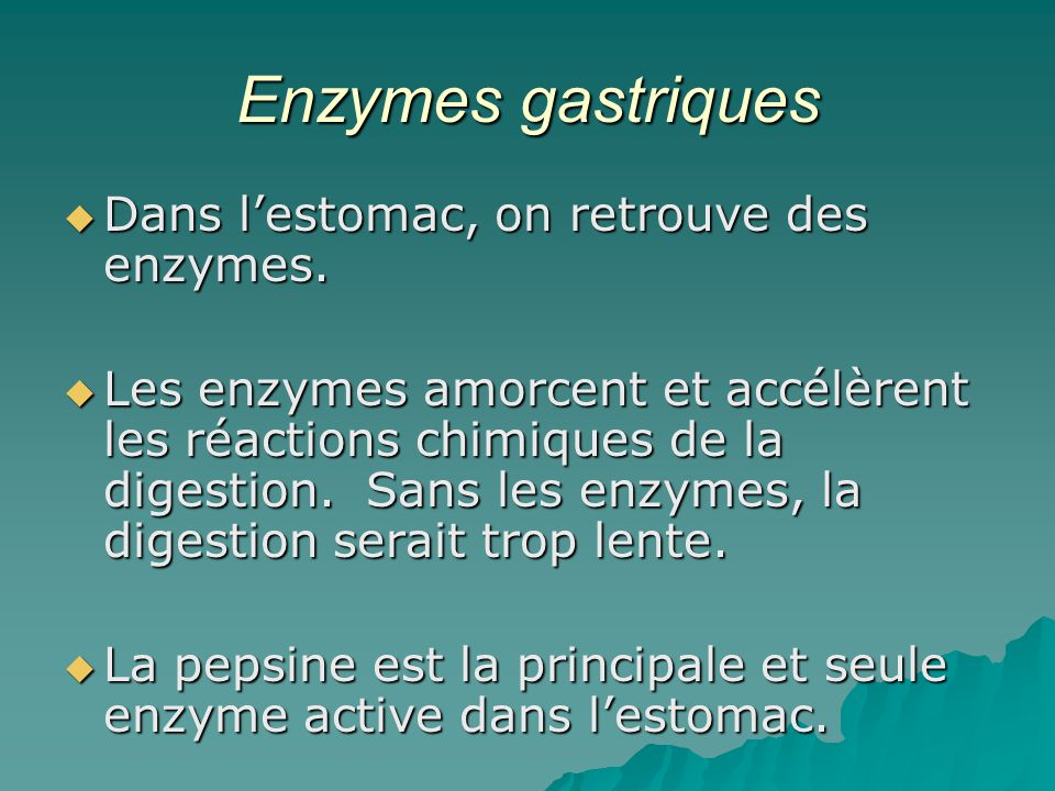 Enzymes gastriques Dans l'estomac, on retrouve des enzymes.