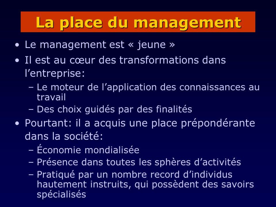 La place du management Le management est « jeune »
