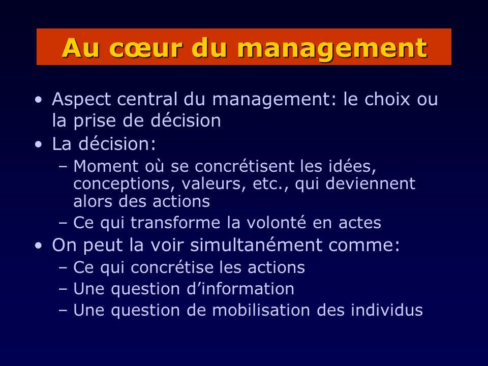 Au cœur du management Aspect central du management: le choix ou la prise de décision. La décision: