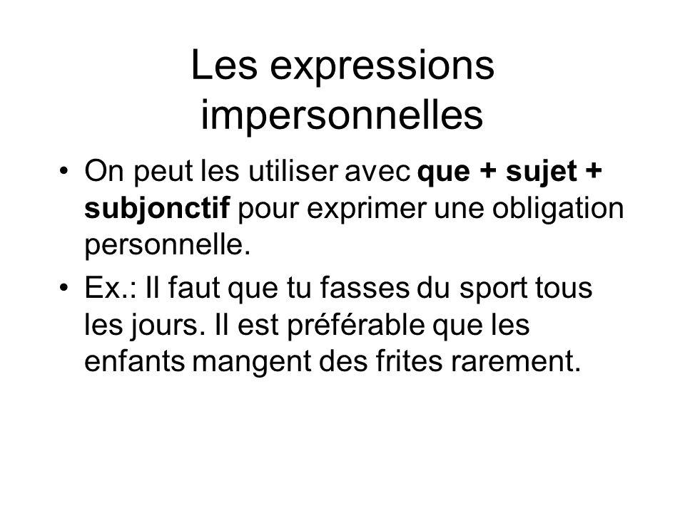 Les expressions impersonnelles