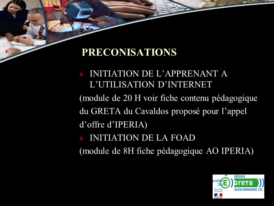 PRECONISATIONS INITIATION DE L'APPRENANT A L'UTILISATION D'INTERNET