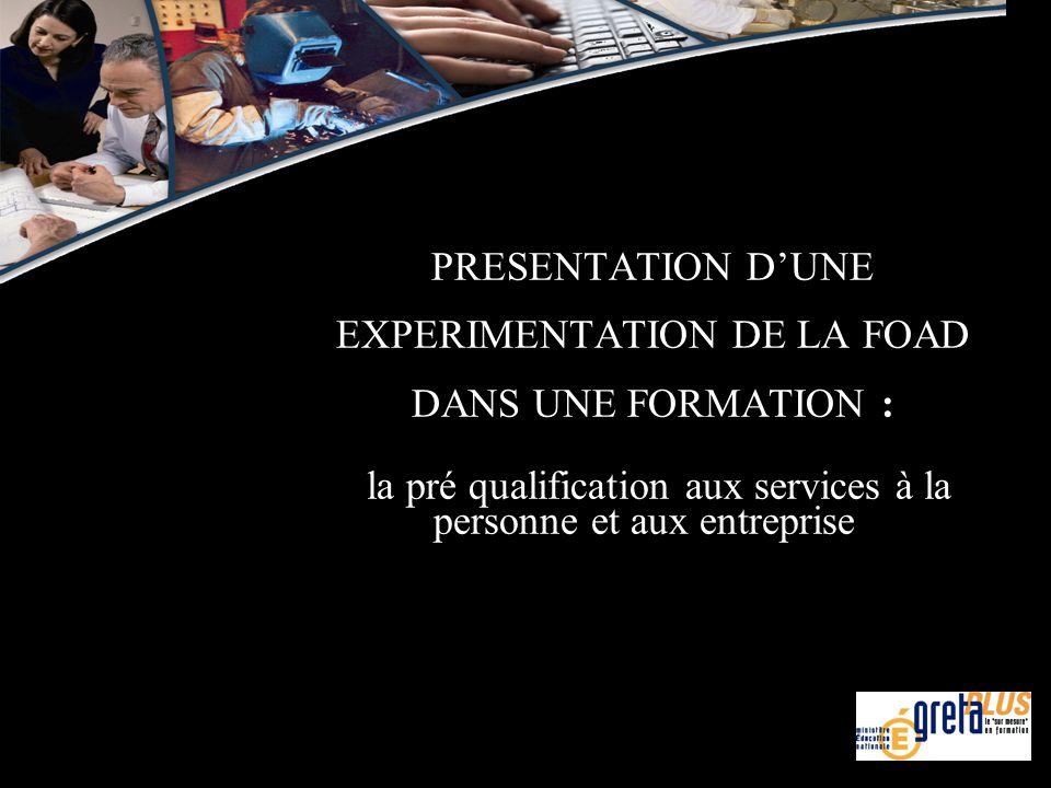 PRESENTATION D'UNE EXPERIMENTATION DE LA FOAD DANS UNE FORMATION : la pré qualification aux services à la personne et aux entreprise