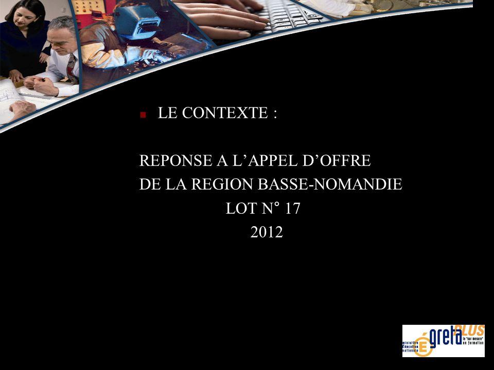 LE CONTEXTE : REPONSE A L'APPEL D'OFFRE DE LA REGION BASSE-NOMANDIE