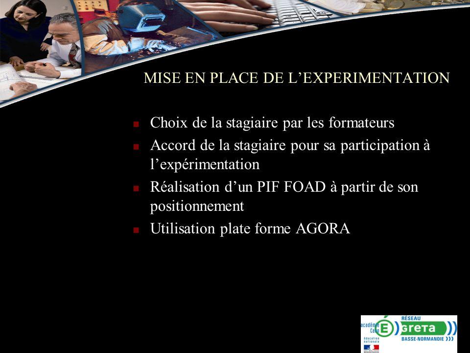 MISE EN PLACE DE L'EXPERIMENTATION