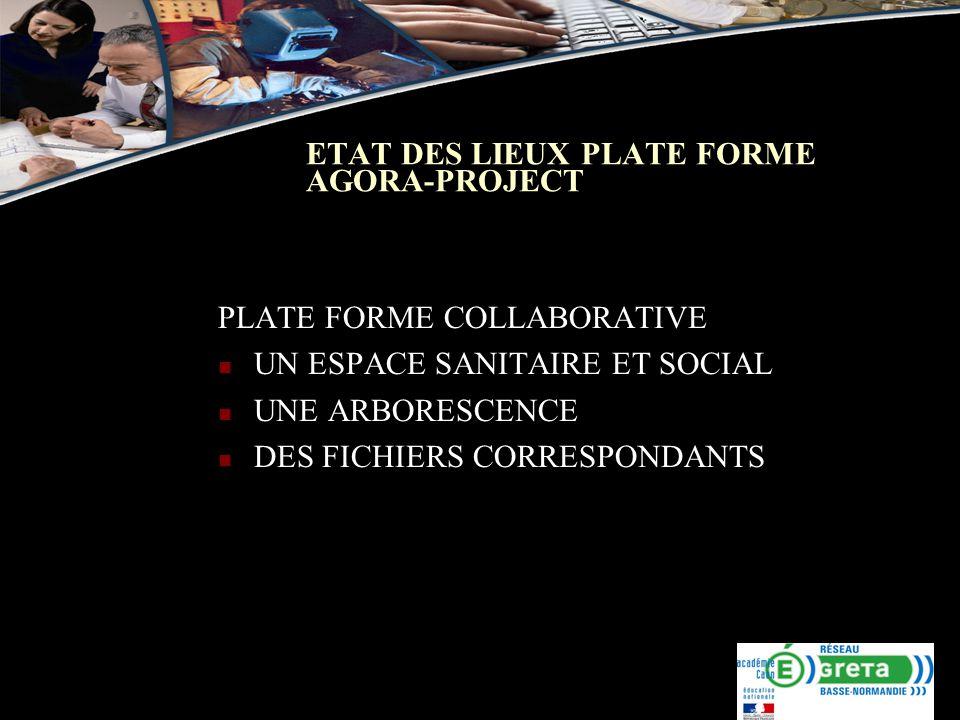 ETAT DES LIEUX PLATE FORME AGORA-PROJECT