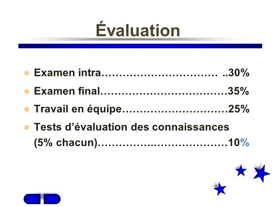 Évaluation Examen intra…………………………… ..30% Examen final………………………………35%