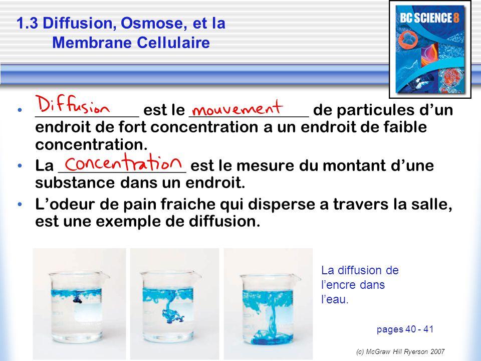1.3 Diffusion, Osmose, et la Membrane Cellulaire